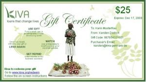 Kiva Geschenkzertifikat