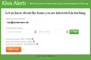 Kiva Alerts bietet einen E-Mail-Service für neue Kiva-Darlehen