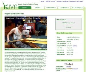 Beispiel für eine Kiva-Seite mit Videoprofil des Kleinunternehmers