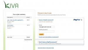 Login-Seite für die Zahlung mittels Paypal
