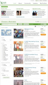 Liste mit Projekten bei Kiva