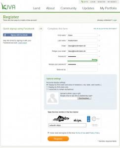 Abbildung: Registrierungsformular bei Kiva.org