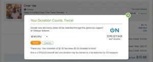 Dialogfenster für die Eingabe des Spendenanteils an Kiva