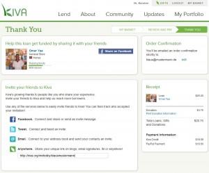 Zahlungsbestätigung auf der Seite von Kiva